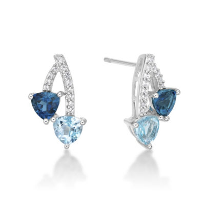 Genuine Blue Topaz Sterling Silver 16.3mm Stud Earrings
