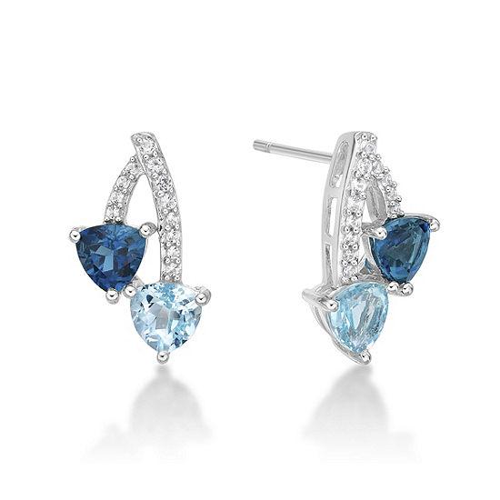 Genuine Blue Topaz Sterling Silver 16.3mm Stud Earrings