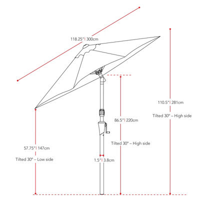 CorLiving Wind Resistant Tilting Patio Umbrella