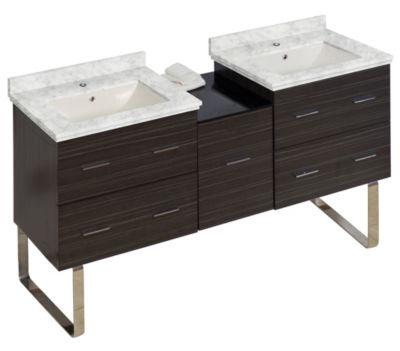 61.5-in. W Floor Mount Dawn Grey Vanity Set For 1Hole Drilling Bianca Carara Top Biscuit UM Sink