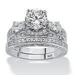DiamonArt® Womens 3 1/2 CT. T.W White Cubic Zirconia Platinum Over Silver Bridal Set