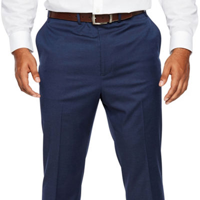 Shaquille O'Neal XLG Blue Solid Stretch Suit Pants - Big and Tall