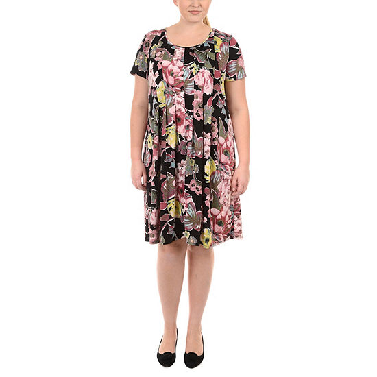 NY Collection Fit and Flare Pleated Dress - Plus