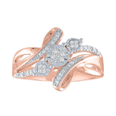 Womens 1/10 CT. T.W. Genuine White Diamond 14K Rose Gold Over Silver Cocktail Ring