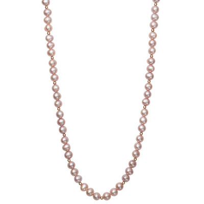 Womens 7MM White Cultured Freshwater Pearl 14K Rose Gold Strand Necklace