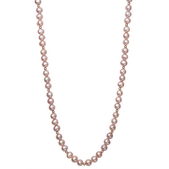 Womens 7MM Pink Cultured Freshwater Pearl 14K Rose Gold Strand Necklace