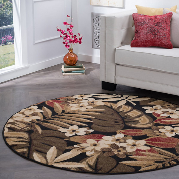 Tayse Carribe Transitional Floral Round Area Rug