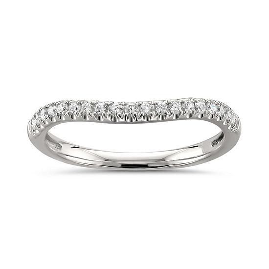Womens 2mm 1 4 Ct Tw Genuine White Diamond 14k White Gold Wedding Band