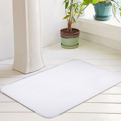 Ariana Collection Textured Memory Foam with Woven Stripe Bath Mat