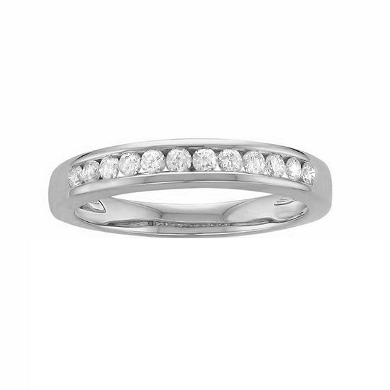 Womens 3MM 1/4 CT. T.W. Genuine White Diamond Platinum Wedding Band