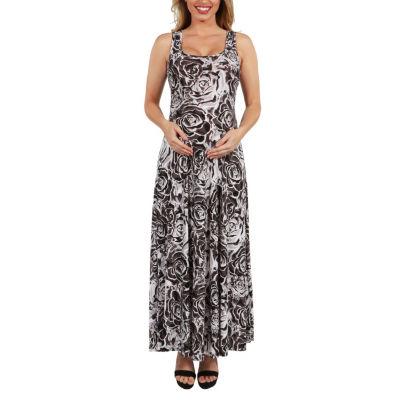 24Seven Comfort Apparel Magda Floral Maternity Maxi Dress