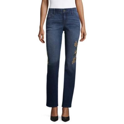 Liz Claiborne Embroidered Straight Leg Flexi Fit Jeans