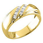 Mens 6MM 1/4 CT. T.W. Genuine White Diamond 14K Gold Wedding Band