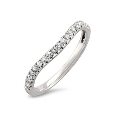 Womens 2mm 1/4 CT. T.W. White Diamond 14K White Gold Wedding Band