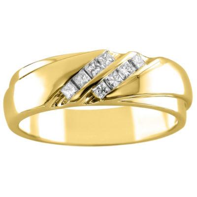 Mens 6mm 1/4 CT. T.W. White Diamond 14K Gold Wedding Band