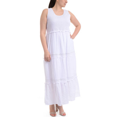 NY Collection Sleeveless Tiered Skirt Maxi Dress - Plus