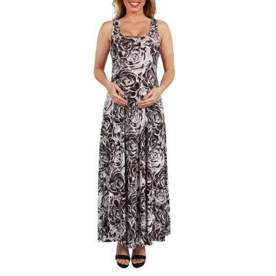 24Seven Comfort Apparel Magda Floral Maternity Maxi Dress - Plus