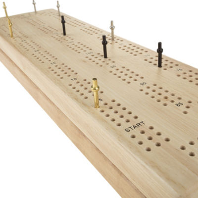 Hey! Play! Wooden Cribbage Board Game Set