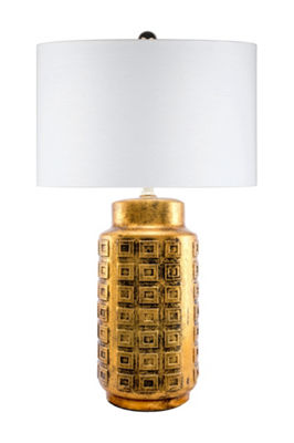 "Watch Hill 27"" Ruby Ceramic Gold Finish Linen Shade Table Lamp"
