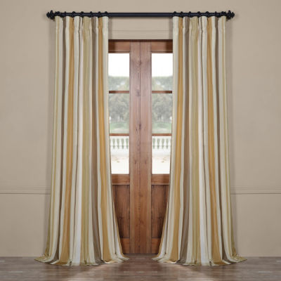 Exclusive Fabrics & Furnishing Norfolk Luxury Faux Silk Stripe Rod-Pocket/ Back-Tab Curtain Panel
