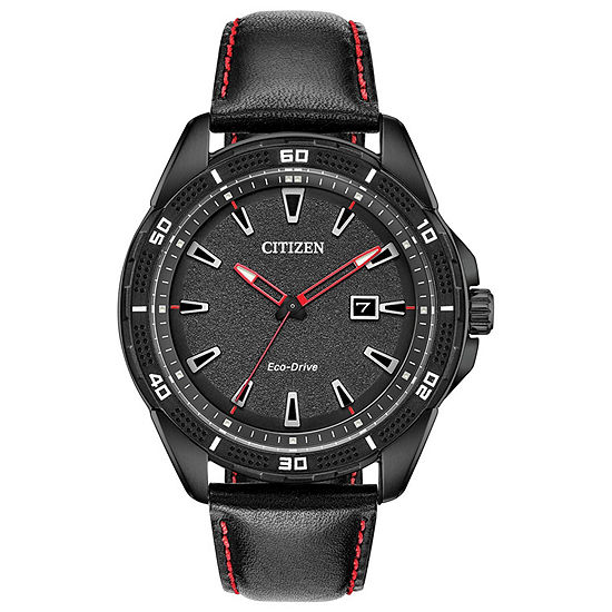 Drive from Citizen Mens Black Leather Strap Watch-Aw1585-04e