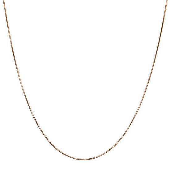 14K Rose Gold Solid Box Chain Necklace