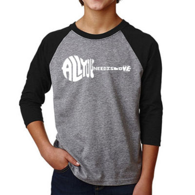 Los Angeles Pop Art Boy's Raglan Baseball Word Art T-shirt - All You Need Is Love