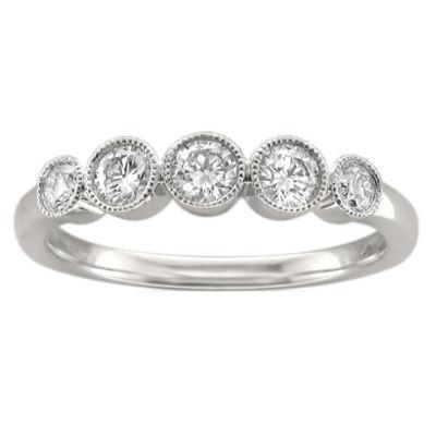 Womens 4mm 1/2 CT. T.W. White Diamond 14K White Gold Wedding Band
