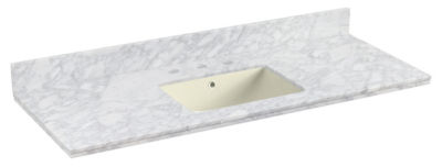 47.5-in. W 18.25-in. D Quartz Top With BacksplashIn Bianca Carara Color For 3H8-in. Faucet - Biscuit UM Sink