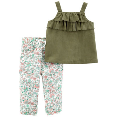 Carter's 2pc Olive Floral Legging Set - Baby Girl