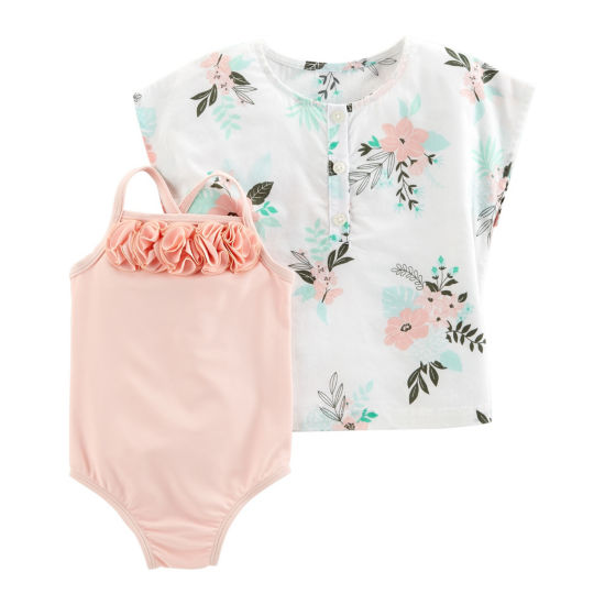 Carter's 2pc Floral Cover Up & Swimsuit Set - Baby Girl