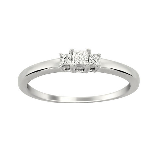 Love Lives Forever Womens 1/5 CT. T.W. Genuine White Diamond 14K White Gold 3-Stone Engagement Ring
