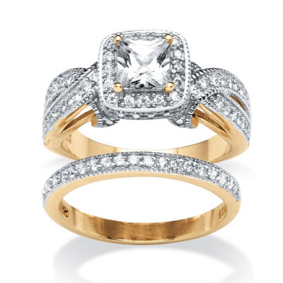 Diamonart Womens 1 3/4 CT. T.W. White Cubic Zirconia 18K Gold Over Silver Bridal Set