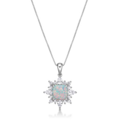 Womens Lab Created White Opal Sterling Silver Pendant Necklace