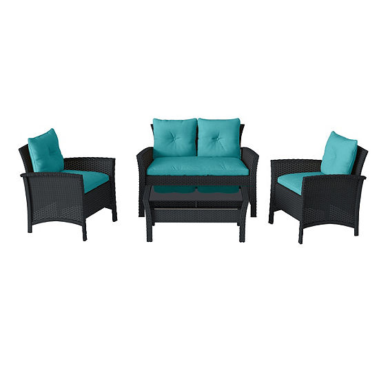 CorLiving Cascade 4pc Black Resin Rattan Wicker Patio Set