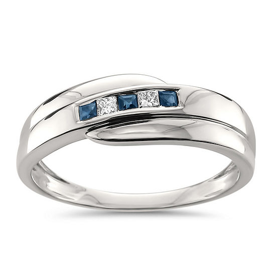 Mens 1/4 CT. T.W. Diamond & Genuine Blue Sapphire 14K Gold Wedding Band