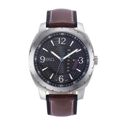 Esq Mens Brown Strap Watch-37esq011001a