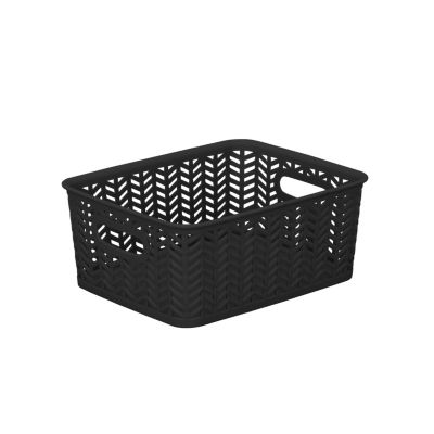 Resin Herringbone Storage Tote - Black-Small 10X8X4