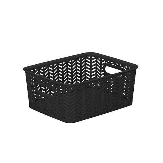 Resin Herringbone Storage Tote - Black-Small 10X8X4