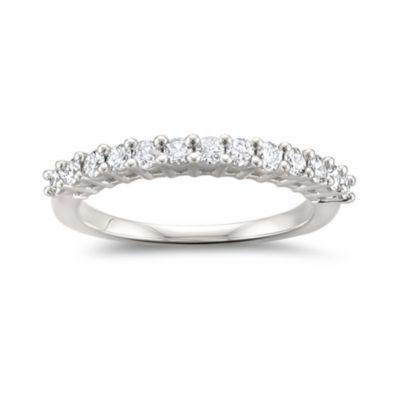 Womens 2mm 1/2 CT. T.W. White Diamond 14K White Gold Wedding Band