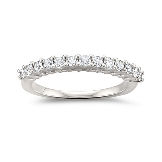 Womens 2MM 1/2 CT. T.W. Genuine White Diamond 14K White Gold Wedding Band