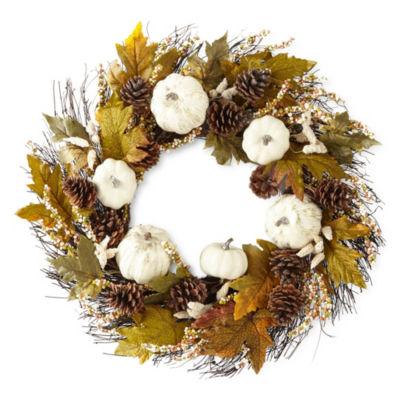 JCPenney Home White Pumpkin Wreath