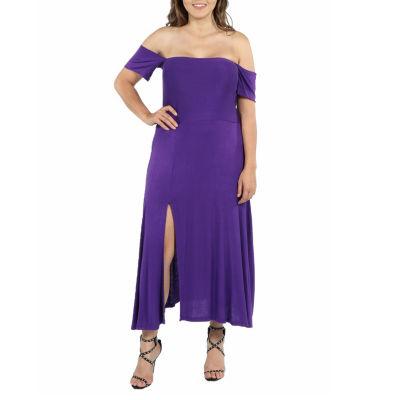 24/7 Comfort Apparel Star Sweep Off Shoulder Maternity Dress - Plus