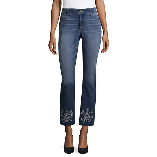 Liz Claiborne Chewed Hem Embellished Straight Leg Flexi Fit Jeans