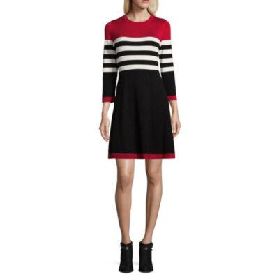 Jessica Howard 3/4 Sleeve Stripe Fit & Flare Dress-Petite