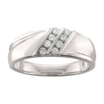 Mens 7.5mm 1/4 CT. T.W. White Diamond 14K White Gold Wedding Band