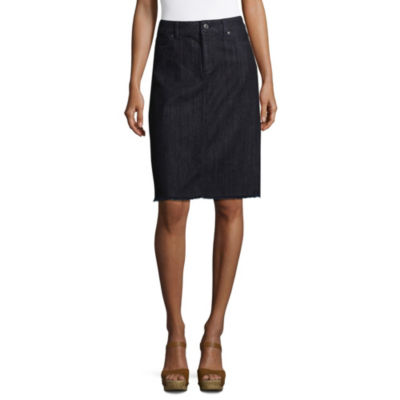 Liz Claiborne Fringe Hem A-Line Denim Skirt