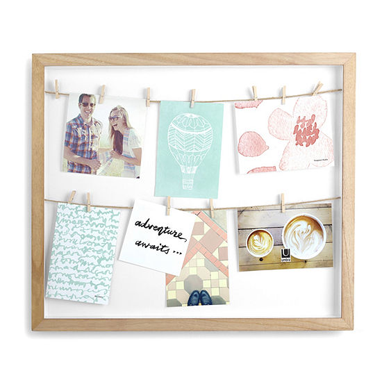 Umbra Clothesline Photo Display Natural 12-Opening Wall Frame
