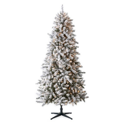 North Pole Trading Co. 7 Foot Vermont Pre-Lit Flocked Christmas Tree