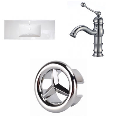 39.75-in. W 1 Hole Ceramic Top Set In White Color- CUPC Faucet Incl.